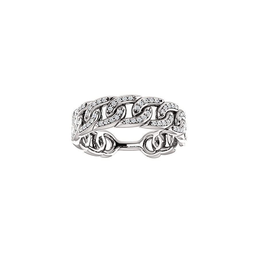 1.33 ct Ladies Round Cut Diamond Link Wedding Band Ring in Platinum