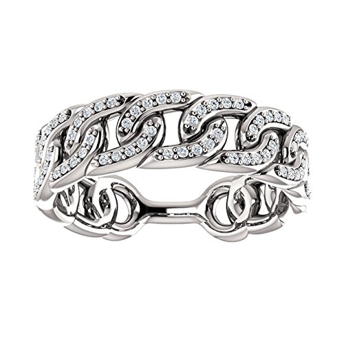 1.33 ct Ladies Round Cut Diamond Link Wedding Band Ring in Platinum