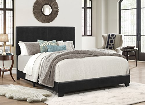 (Crown Mark Upholstered Panel Bed in Black, Queen)