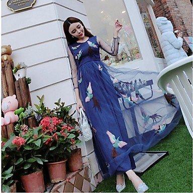 PU&PU Robe Aux femmes Swing Bohème,Fleur Col Arrondi Maxi Soie / Polyester , blue , s