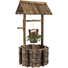 Best Choice Products Wooden Wishing Well Bucket Flower Planter Patio Garden Outdoor Home Décor