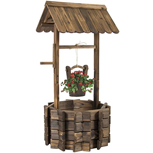 Best Choice Products Rustic Wooden Wishing Well Planter Outdoor Home Décor for Patio, Garden, Yard w/Hanging Bucket – Brown