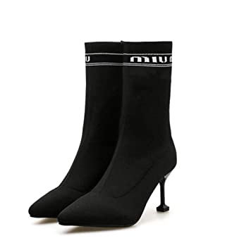 Calcetines Botas De Punto De Las Mujeres Elásticas Botas
