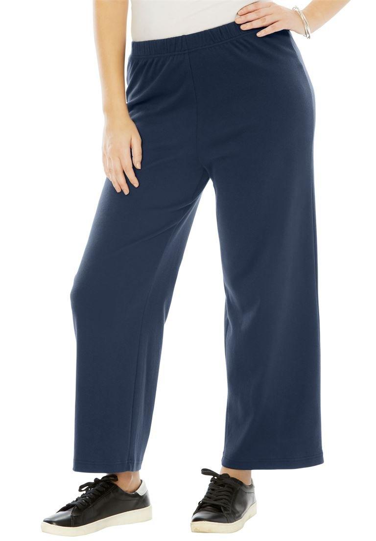 Roamans Women's Plus Size Soft Knit Wide Leg Pant