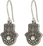 Alex and Ani Women's Hand of Fatima Hook Earrings Rafaelian Silver One Size