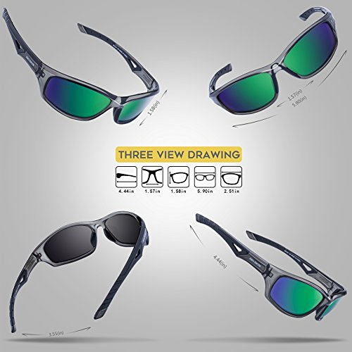 RIVBOS Polarized Sports Sunglasses Driving Glasses for Men Women for Cycling Baseball 842 Gray& Green Polarized Lens