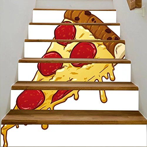 vanfan 3D Creative salami pizzslice vector clip art illustration with simple gradients all in single laye DIY Refurbished Stairs Stickers Removable Waterproof Stairs Mural(39.3