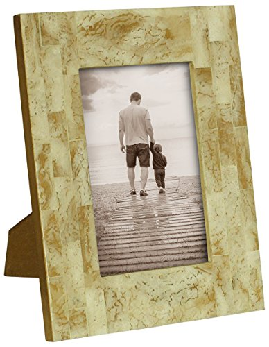 Parent's Day Gifts – SouvNear 4×6 Handmade Picture / Photo Frame for Horizontal and Vertical Pictures in Natural Bone – Beige  Light Brown – Office …