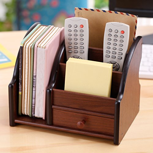 5 Compartment Wood Desktop Office Supply Organizer / Mail Holder Rack with Storage Drawer by MyGift (Image #2)