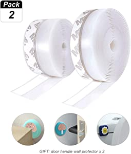 Door Weather Stripping, Silicone Seal Strip Adhesive for Doors and Windows Insulation Bottom and Side Gap,2 Pack Transparent 26 Feet Long (Width 35mm)