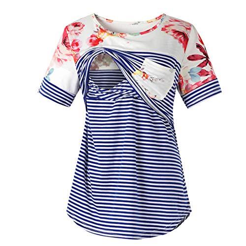 (Fashion Women Short Sleeve Double Layer Maternity Nursing Tops Shirts for Breastfeeding (Blue Stripe, XL))