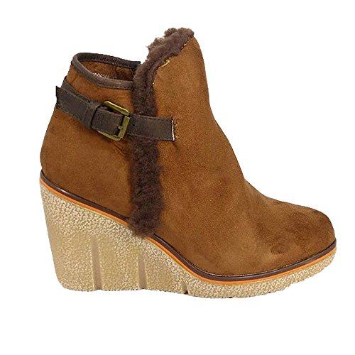 Aaishaz 786 Snow Ladies Mid Low Wedge Heel Fur Buckle Collar Zip Ankle K1706206 Shoe Booties Camel