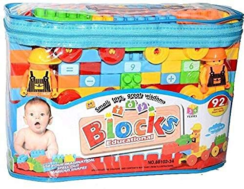 Happy Bachpan Multi Colour Building Bricks and Blocks for Kids in a Cute Bag   Set of 92 pcs.