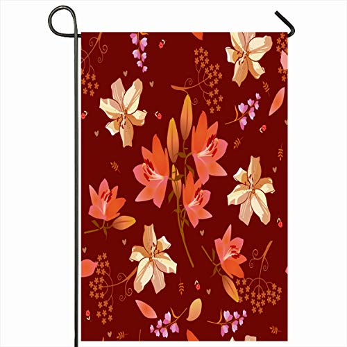 Ahawoso Garden Flag 12x18 Inches Garden Brown Floral Ditsy Pattern Pink Golden Nature Bell Flower Bloom Blossom Design Outdoor Seasonal Home House Yard Sign Double Sides Printed Banner