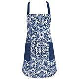 "DII CAMZ33937 Cotton Adjusatble Women Kitchen Apron with Pockets and Extra Long Ties, 37.5 x 29"", Cute Apron for Cooking, Baking, Gardening, Crafting, BBQ-Damask Nautical Blue"