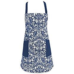 """Dii Cotton Adjusatble Women Kitchen Apron With Pockets & Extra Long Ties, 37.5 X 29"""", Cute Apron For Cooking, Baking, Gardening, Crafting, Bbq-damask Nautical Blue"""