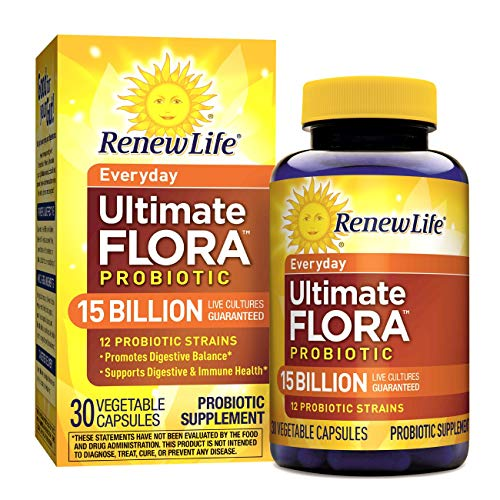 Renew Life Adult Probiotic - Ultimate Flora Everyday Probiotic, Shelf Stable Probiotic Supplement - 15 Billion - 30 Vegetable Capsules ()