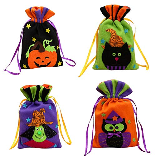 Provone Halloween Tote Bags - Trick or Treat Tote Bags - Halloween Snacks, Event Party Supplies, Halloween Goodie Bags Creations (8-4PCS) -
