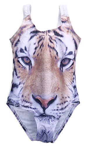 Face Suit Two Costume (Newborn Baby Girls Tiger Face Print Romper Bathing Suit Swimming Costume (2-3)