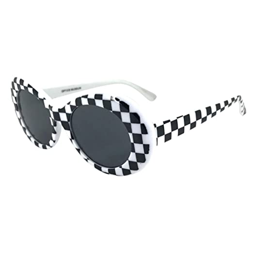 305139fc49 Nadition Fashion Unisex Sunglasses Vintage Clout Goggles Rapper Oval Shades  Grunge Glasses (A)