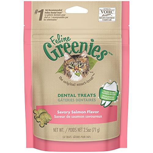 FELINE GREENIES Dental Treats for Cats Savory Salmon Flavor 2.5 oz.