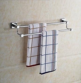 SYDLJ 5 baño de Acero Inoxidable Kim colgar toallas de baño toallas de plegado doble estantería, 60*25: Amazon.es: Hogar