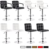 Bar Stools with Arms WOLTU ABSX1003blk-c Swivel Adjustable Bar Stools With Armrest,Synthetic Leather Hydraulic Counter Stools Air Lift with padding Black Set of 2