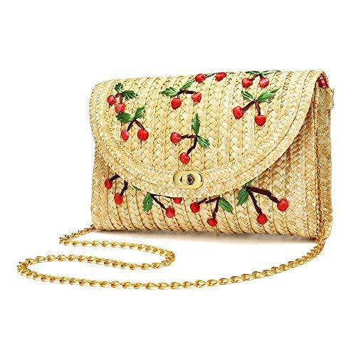 YYW Straw Crossbody Bag, Women Fruit Banana Cherry Crochet Shoulder Bag Fringe Fashion Clutch Purse for Summer Beach (Cherry)