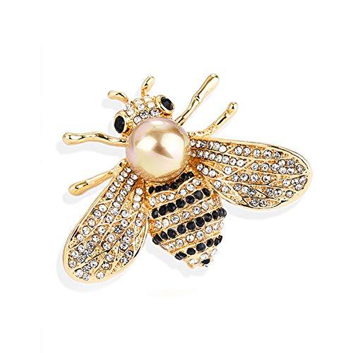 Rhinestone Bee Pin - Gleamart Honey Bee Brooch Pin Rhinestone Insect Animal Brooches for Women Gold