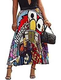 1bb1281047662 Womens Graffiti Color Block Skirts Cartoon Printed Elastic Waist Swing Midi  Skirt