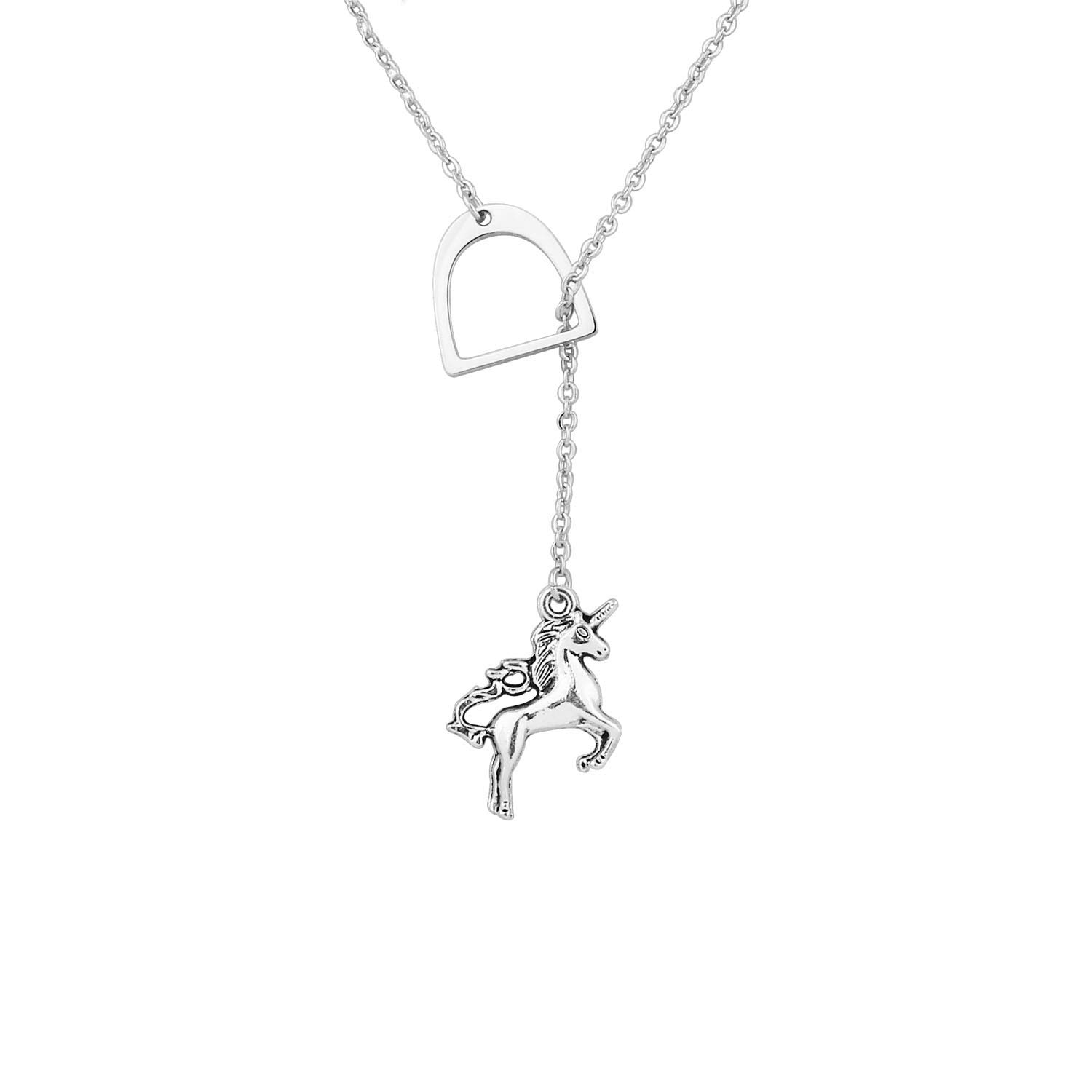 Unicorn Horse Equestrian Stirrup Y Lariat Necklace Gift for Her BNQL