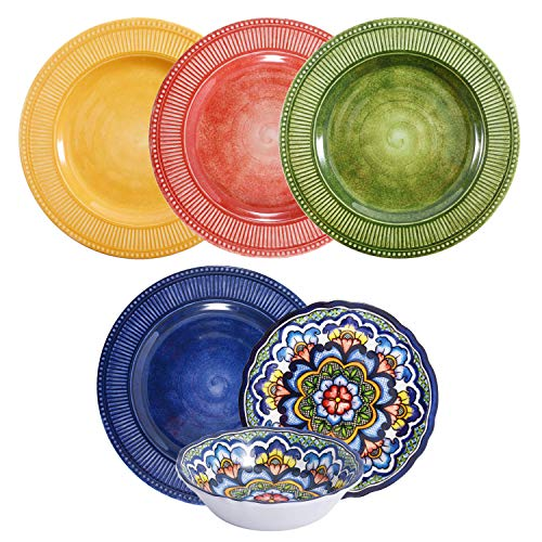 First Design Global DNS0319 Decorative Multicolor 12 Piece Melamine Dinnerware, Unique Dish Set for Parties or Everyday Use, Service for 4 (Best Dinnerware Sets For Everyday Use)