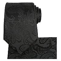 FlowerMoon Mens Tie Set Black Classic Paisley Necktie + Pocket Square + Gift Box