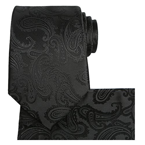 KissTies Extra Long Tie Set: Black Paisley Necktie + Hanky +