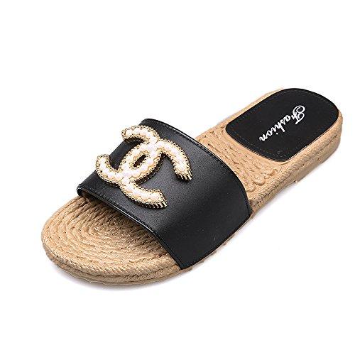 Anti D'été dérapant Black De Chaussures Femmes Xing Sandales 37 Plat Mot Avec pink Survêtement Fond Guang 2 Et Pantoufles Mou Sable 37 RR07OZ