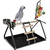 Parrot Bird Perch Table Top Stand Metal Wood 2 Steel Cups Play Medium Large Breeds 45cm x 32cm x 28cm