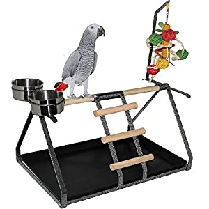 "FDC Parrot Bird Perch Table Top Stand Metal Wood 2 Steel Cups Play for Medium and Large Breeds 17.5"" x 12.5"" x 11"" 22"