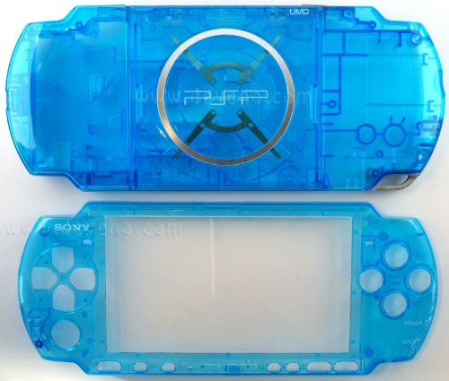 (Crystal Clear Blue PSP 3000 Series Full Shell Cover Housing Replacement with Button Set)
