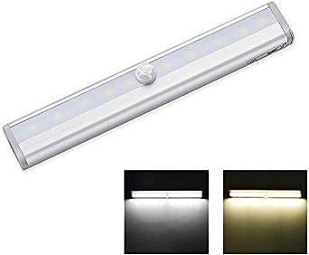 Aplique decorativo de pared PIR portátil Luz LED Sensor de movimiento Just Light Bar Night Light Gabinete Escalera Gabinete de cocina Light @ White190mm: Amazon.es: Iluminación