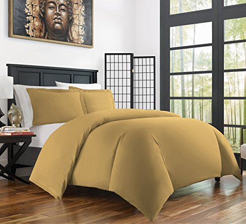 Zen Bamboo Ultra Soft 3-Piece Bamboo Derived Rayon Duvet Cover Set -Hypoallergenic and Wrinkle Resistant - King/Cal King - (Gold King Duvet Cover)