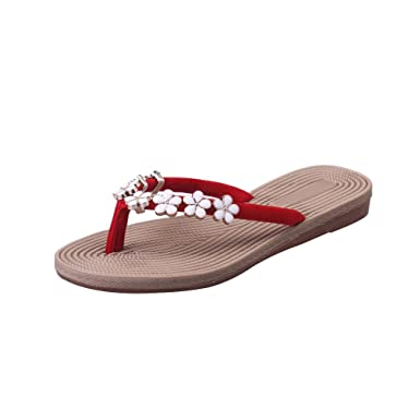47086a85a70901 Photno Women Flip Flops Casual Flower Slippers Summer Flats Sandals Beach  Slip On Slides Shoes Red