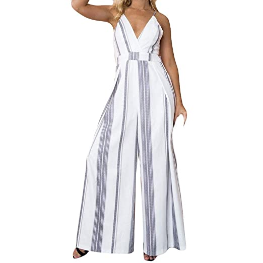 50d86dc0d35 Image Unavailable. Image not available for. Color  Corriee Jumpsuit for  Women Elegant Strappy Deep V Neck Stripe Holiday Rompers Wide Leg Trousers  Playsuit
