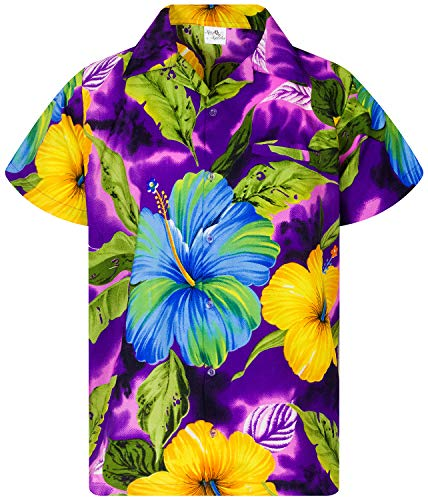 King Kameha Funky Hawaiian Shirt, Shortsleeve, Big Flower, Purple, L]()