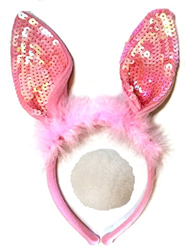 [Plush Bunny Ears Headband with Fluffy Tail - Bunny Costume - Woman Bunny Costume - Child Bunny Costume - LOTS OF COLORS- (Fuzzy Sequins Pink)] (Bugs Bunny Costumes For Child)