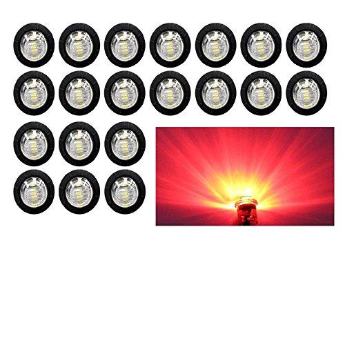 (Pack of 20) Madcatz Red Light (Clear Lens) 3/4 inch Bullet Side Led Marker Trailer lights Clearance Indicator 12V DC