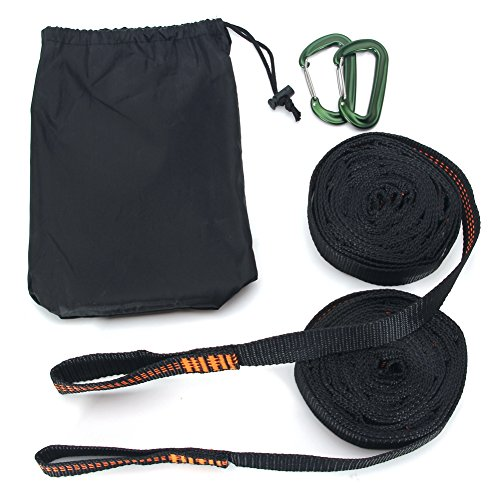 DOHOT 1100 LBS Lightweight Tree Friendly Camping Heavy Duty Adjustable Hammock Strap with Carabiners,Best Portable Strap System With Fast And Easy Setup - (Set of 2,18 Feet Long,28 Loops) by DOHOT