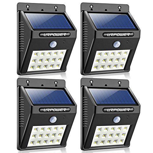 URPOWER Solar Lights, Upgraded 15 LED Bulbs Waterproof Outdoor Wireless Solar Motion Sensor Light Dusk to Dawn Motion Activated Auto On/Off Solar Security Wall Light Path lights(4)