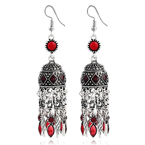 Vintage Bohemian Ethnic Alloy Rhinestone Resin Domed Tassel Long Dangle Earrings