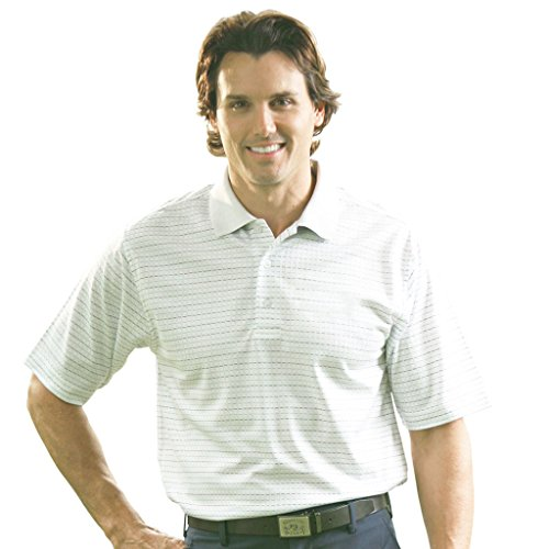 Pima Golf (Monterey Club Mens Short Sleeve Pima Cotton Shirt #1272 (White/Slate Blue, Large))