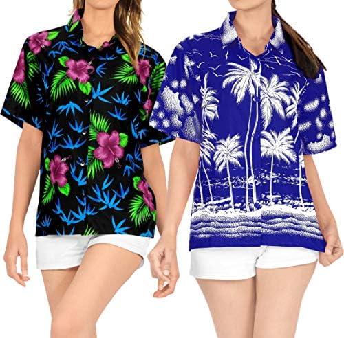 LA LEELA Womens Beach Wedding Tunic Hawaiian Shirt Aloha Luau Camp Work from Home Clothes Women Beach Shirt Blouse Shirt Combo Pack of 2 Size L